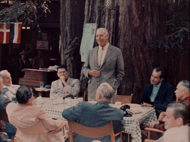 Ronald Reagan, Richard Nixon, and Gerald Ford attending the Bohemian Grove